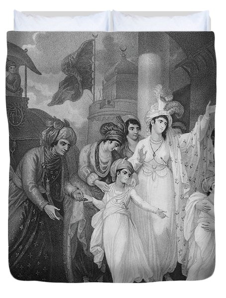 The Departure Of The Sons Of Tippoo From The Zenana Duvet Cover