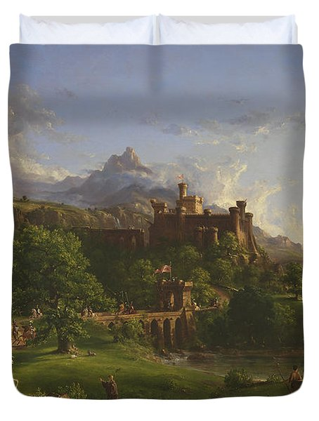 The Departure Duvet Cover by Thomas Cole