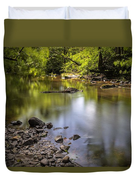 Duvet Cover featuring the photograph The Devon River by Jeremy Lavender Photography