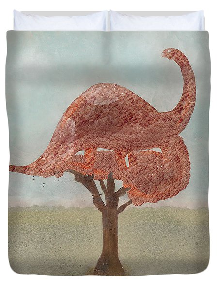 Duvet Cover featuring the painting The Dinosaur Tree by Bri B
