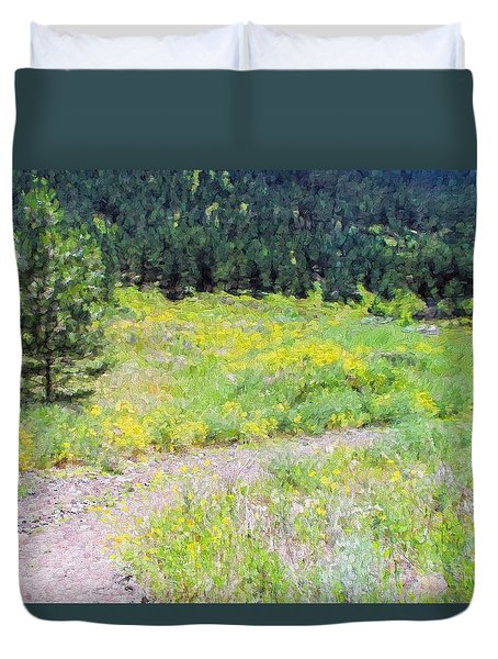Duvet Cover featuring the photograph The Dirt Road To Pine Valley by Kathy Bassett
