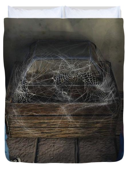 Duvet Cover featuring the painting The Dirty Treasure Chest by Dave Luebbert