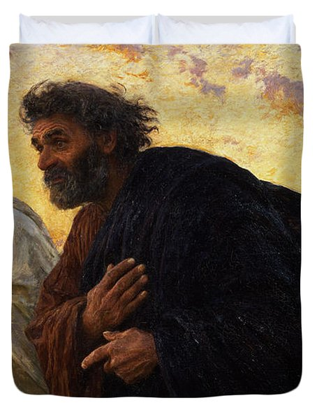 The Disciples Peter And John Running To The Sepulchre On The Morning Of The Resurrection Duvet Cover by Eugene Burnand