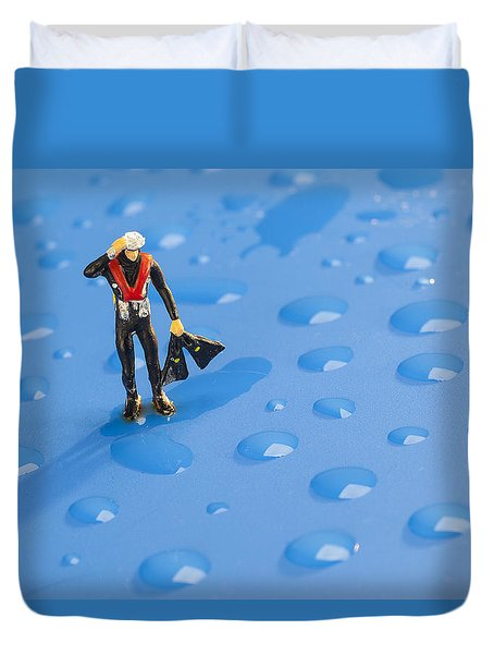 Duvet Cover featuring the photograph The Diver Among Water Drops Little People Big World by Paul Ge