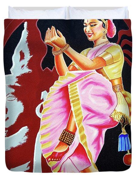 Duvet Cover featuring the painting The Divine Dance Of Bharatanatyam by Ragunath Venkatraman