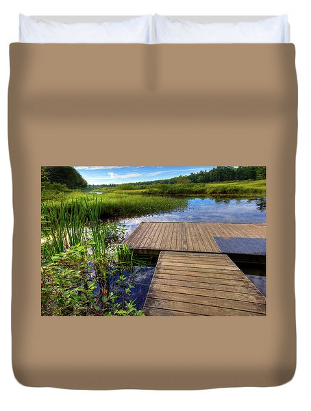 The Dock At Mountainman Duvet Cover by David Patterson