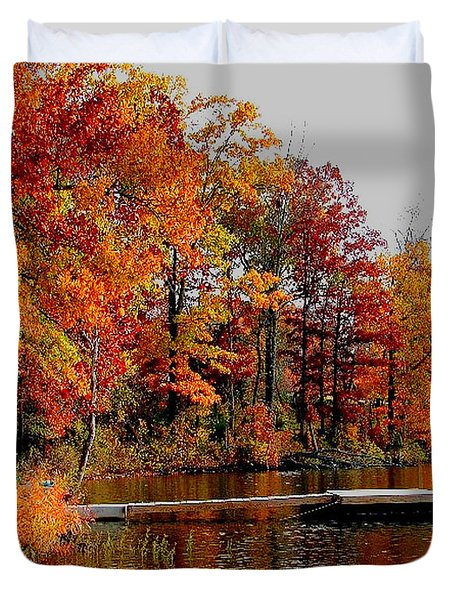 Duvet Cover featuring the photograph The Dock by Rick Friedle