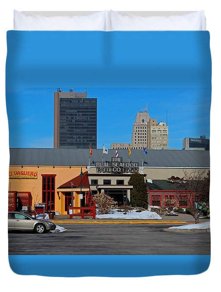 Duvet Cover featuring the photograph The Docks by Michiale Schneider
