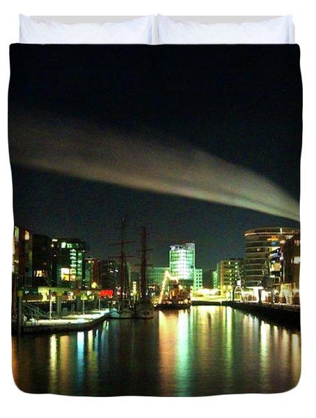 The Docks Of Hamburg By Night Duvet Cover by Rob Hawkins