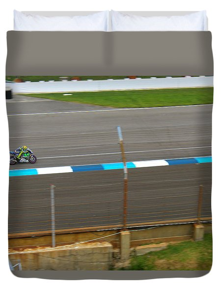 Duvet Cover featuring the photograph The Doctor At Indy  Valentino Rossi  by Iconic Images Art Gallery David Pucciarelli