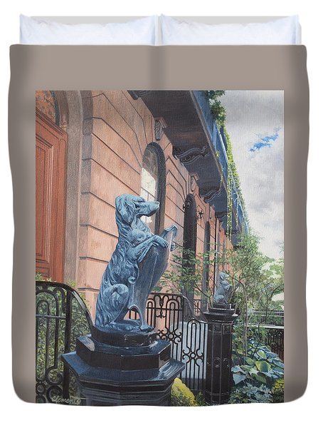 The Dogs On West Tenth Street, New York, Ny  Duvet Cover