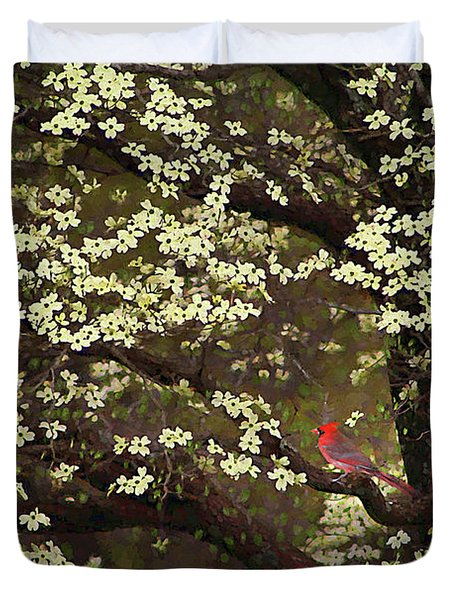 Duvet Cover featuring the digital art The Dogwoods And The Cardinal by Darren Fisher