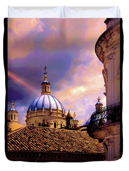 The Domes Of Immaculate Conception, Cuenca, Ecuador Duvet Cover by Al Bourassa