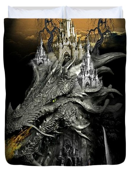 The Dragons Castle Duvet Cover by Ali Oppy