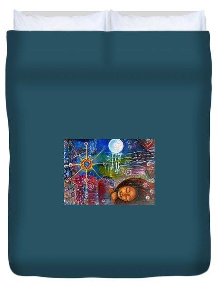 Duvet Cover featuring the painting The Dreamer by Prerna Poojara