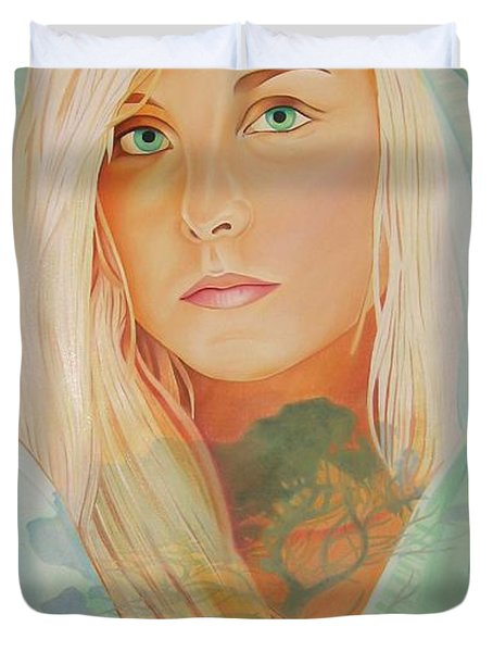 Duvet Cover featuring the painting The Dreaming Tree by Joshua Morton