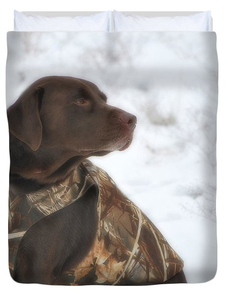 The Duck Dog Iv Duvet Cover by Donna Greene
