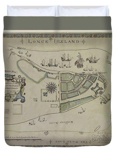Duvet Cover featuring the photograph The Dukes Plan A Description Of The Town Of Mannados Or New Amsterdam 1664 by Duncan Pearson