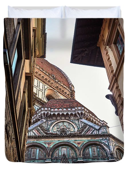 The Duomo Surrounded By Medieval Buildings In Florence, Italy Duvet Cover