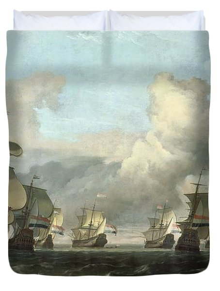The Dutch Fleet Of The India Company Duvet Cover by Ludolf Backhuysen