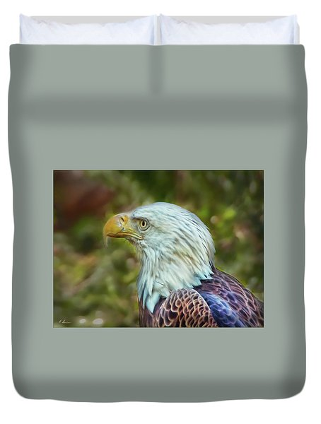 Duvet Cover featuring the photograph The Eagle Look by Hanny Heim