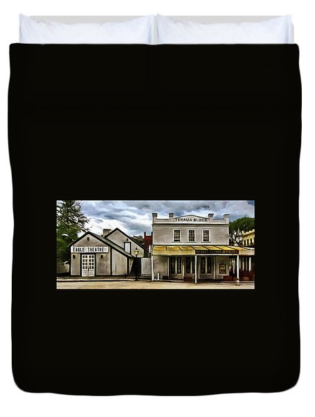 Duvet Cover featuring the photograph The Eagle Theater And Skalet Family Jewelers Old Sacramento by Thom Zehrfeld