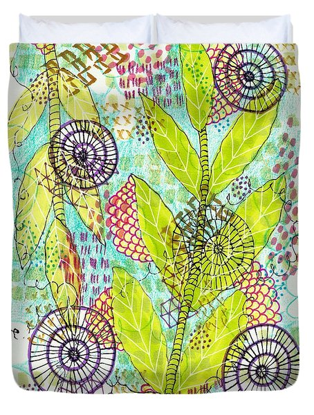 Duvet Cover featuring the mixed media The Earth Dances by Lisa Noneman