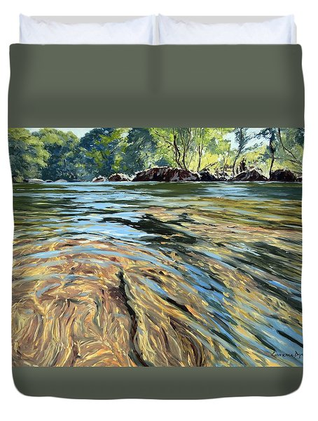 Duvet Cover featuring the painting The East Dart River Dartmoor by Lawrence Dyer