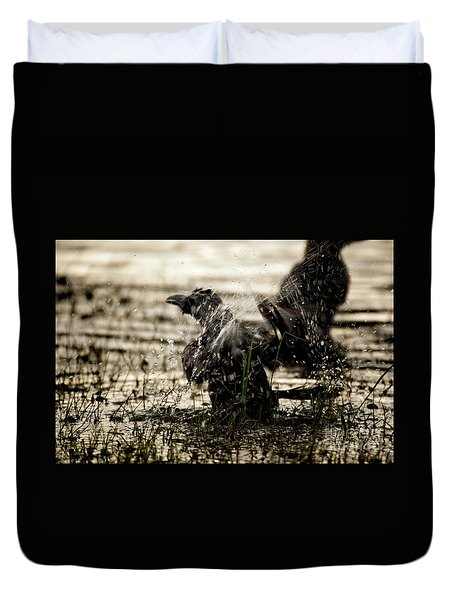 The Eastern Jungle Crow Corvus Macrorhynchos Levaillantii Duvet Cover