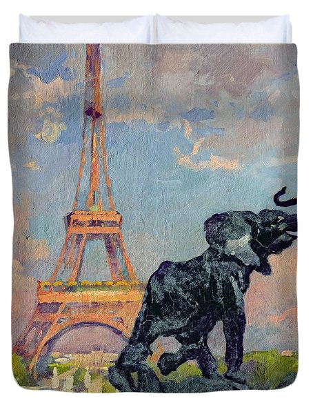 The Eiffel Tower And The Elephant By Fremiet Duvet Cover by Jules Ernest Renoux