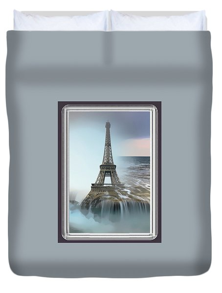 The Eiffel Tower In Montage Duvet Cover