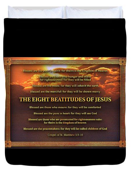 The Eight Beatitudes Of Jesus Duvet Cover