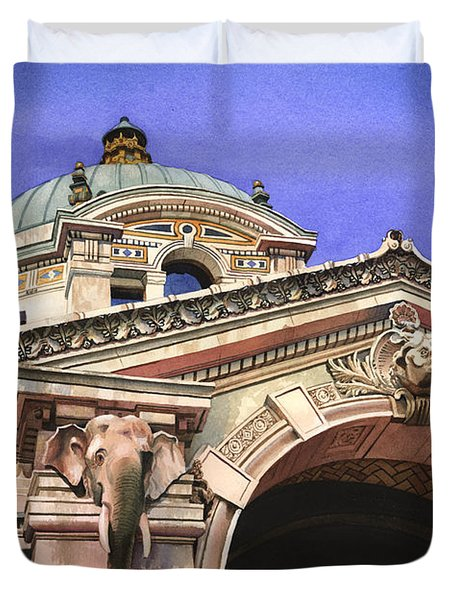 The Elephant House Bronx Zoo Duvet Cover by Marguerite Chadwick-Juner
