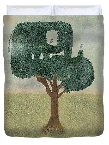 Duvet Cover featuring the painting The Elephant Tree by Bri B