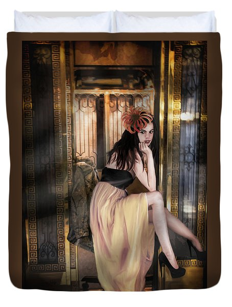 The Elevator Girl Duvet Cover