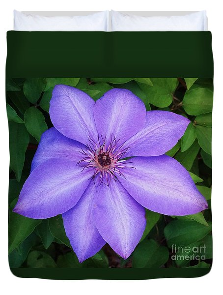 Duvet Cover featuring the photograph The Elsa Splash Clematis by J L Zarek