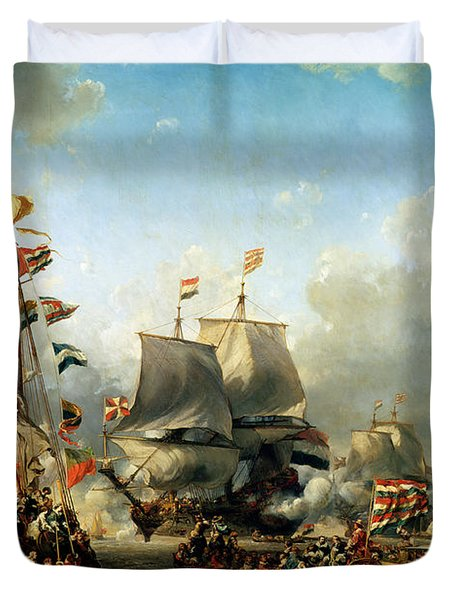 The Embarkation Of Ruyter And William De Witt In 1667 Duvet Cover by Louis Eugene Gabriel Isabey