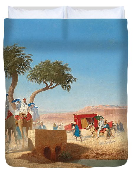 The Empress Eugenie Visiting The Pyramids Duvet Cover by Charles Theodore Frere