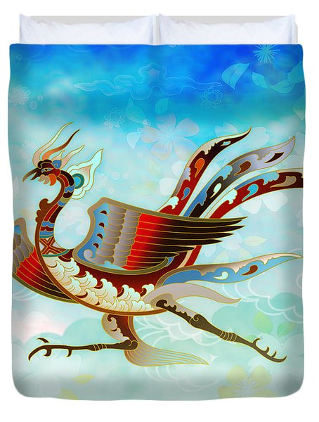 The Empress - Flight Of Phoenix - Blue Version Duvet Cover