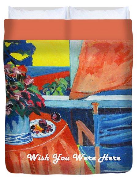 The Empty Blue Canvas Chair Duvet Cover