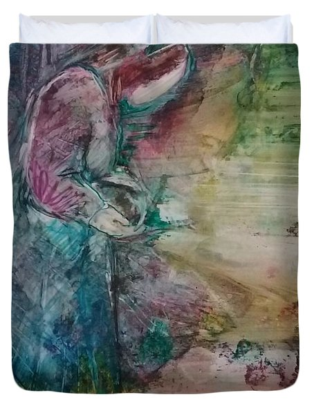 Duvet Cover featuring the painting The Empty Tomb by Deborah Nell