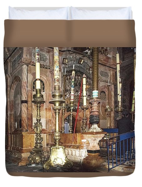 Duvet Cover featuring the photograph The Empty Tomb Of Christ by Mae Wertz