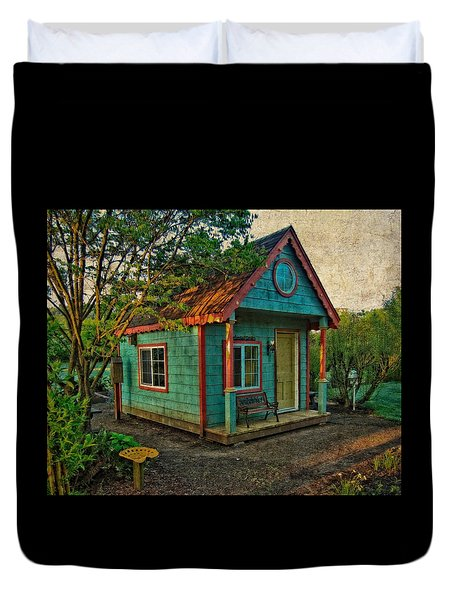Duvet Cover featuring the photograph The Enchanted Garden Shed by Thom Zehrfeld