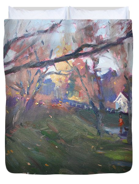 The End Of Autumn Day In Glen Williams On Duvet Cover
