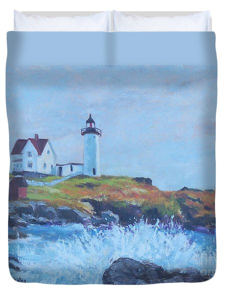 The End Of Summer- Cape Neddick Maine Duvet Cover by Alicia Drakiotes