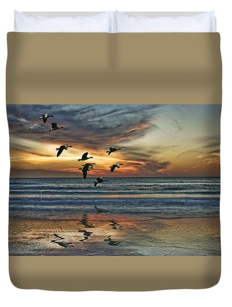 Duvet Cover featuring the photograph The End Of The Day by Brian Tarr