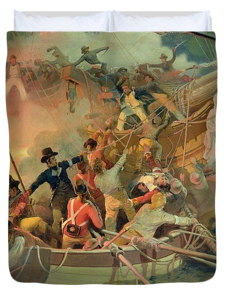 The English Navy Conquering A French Ship Near The Cape Camaro Duvet Cover by English School