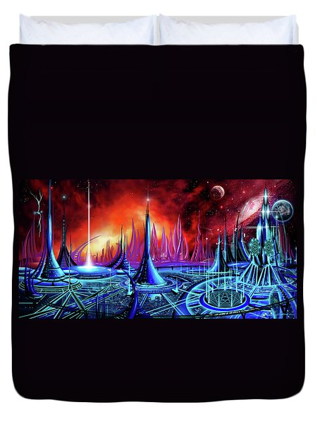 Duvet Cover featuring the painting The Enneanoveum by James Christopher Hill