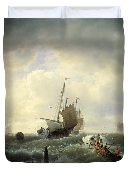 The Entrance To The Harbour At Hellevoetsluys Duvet Cover by Andreas Achenbach