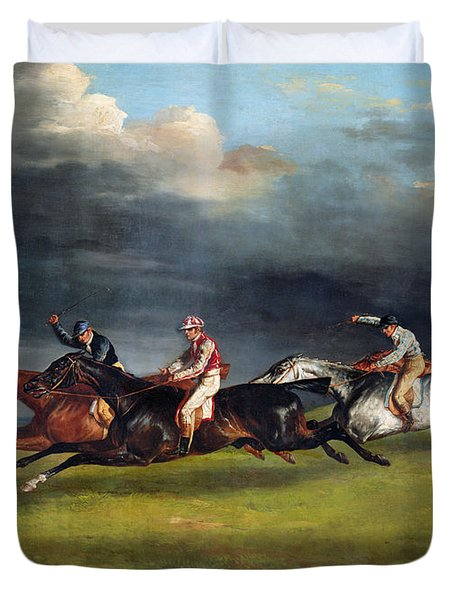 The Epsom Derby Duvet Cover by Theodore Gericault